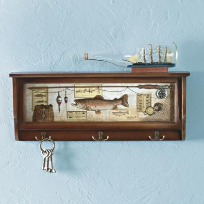 35129 Fishing-Themed Shadowbox Wall Shelf