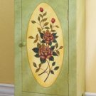 35281 Green Floral Wood Cabinet