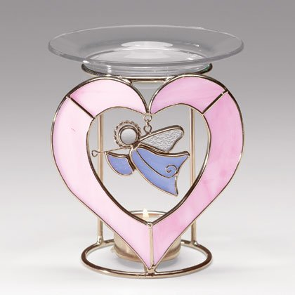 35354 Glass Angel Heart Oil Warmer