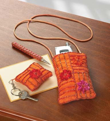 35536 Embroidered Cell Phone Bag Set