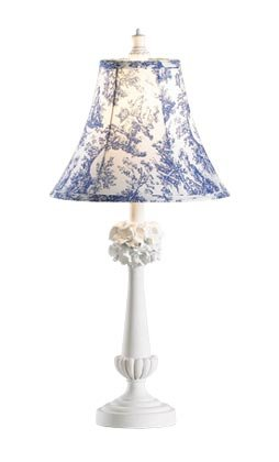 35649 Blue Toile Fabric Shade Lamp