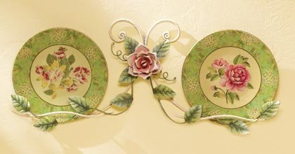 35628 Floral Plates with Metal Rack
