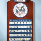 35749 Wood Eagle & Flag Clock & Calendar