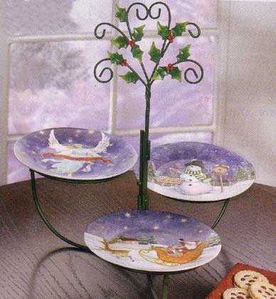 35747 4 Pc. Xmas Dessert Plates and Rack