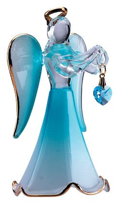 30817 Glass Angel With March Birthstone
