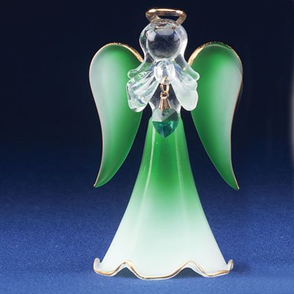30819 Glass Angel With May Birthstone