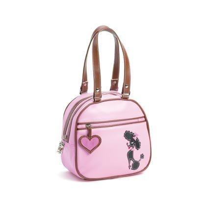 36860 Poodle Pink Brown Bowler Bag