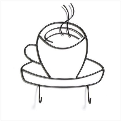 36663 Coffee Cup Metal Hooks Plaque
