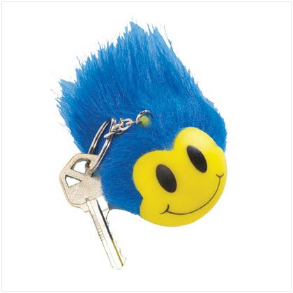 36734 Blue Wild Smiley Face Keyring