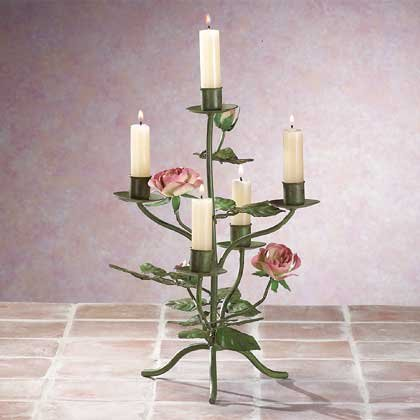 33594 Metal Rose Candelabra