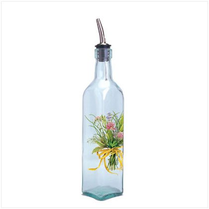 35825 HERB BOUQUET GLASS OIL BOTTLE