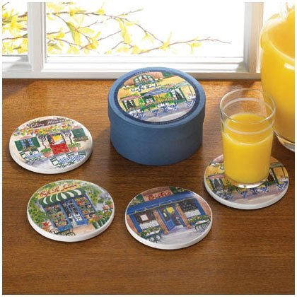 35803 4 PC. FRENCH CAFE COASTERS SET