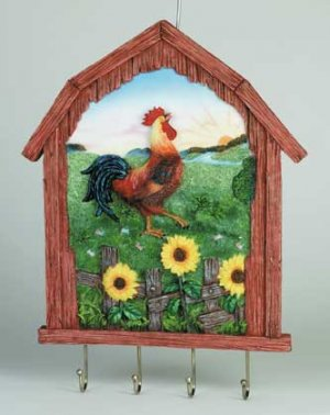 34101 Rooster Key Holder & Wall Plaque