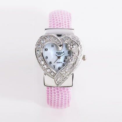 36798 Pink Sparkling Heart Cuff Watch