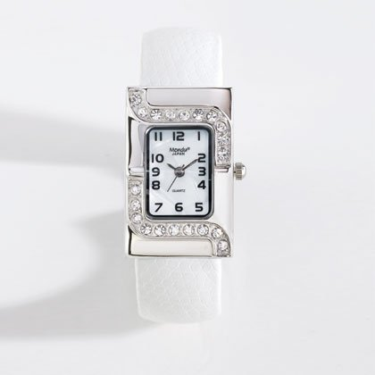 36802 Silver Case White Cuff Watch
