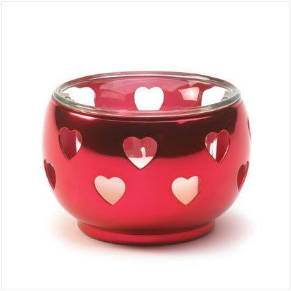 36623 Red Silver Hearts Votive Holder