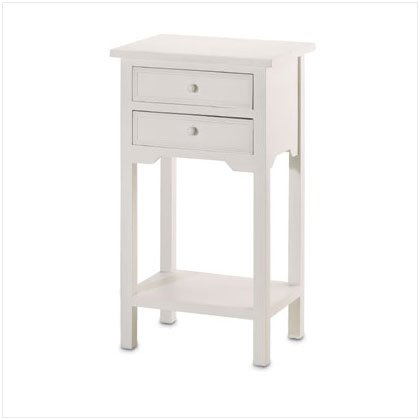 36644 White Table with 2 Drawers