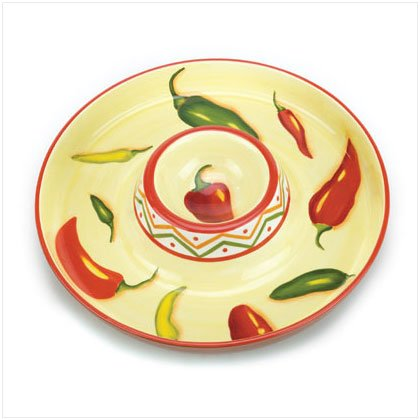 36690 Chili Pepper Chip Dip Platter