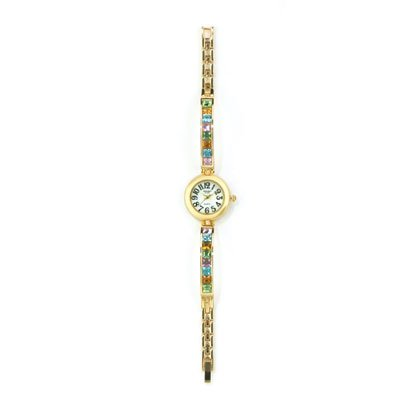 36806 Colorful Crystals and Gold Lady's Watch
