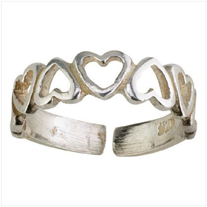 36918 Silver Hearts Band Toe Ring