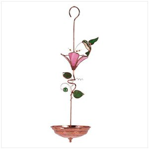 34389 Stained Glass Hummingbird Bird Feeder
