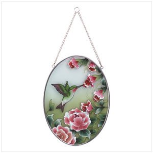 33607 Oval Glass Suncatcher with Hummingbirds