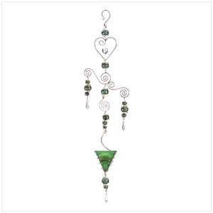 34251 Green Art Glass Candleholder