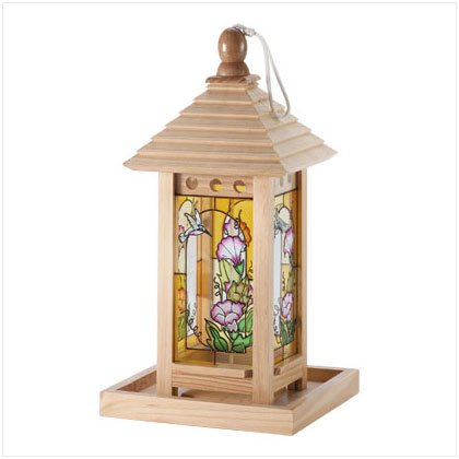 33231 Wood and Painted Glass Birdfeeder