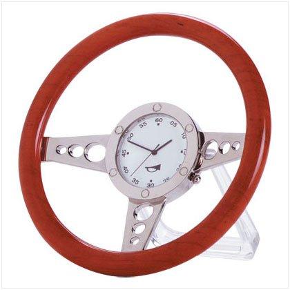 33105 Wood Racer Steering Wheel Clock