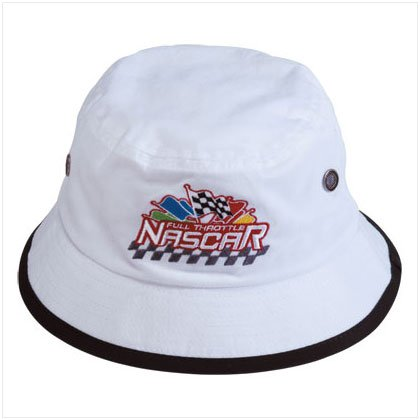34346 White Nascar Bucket Hat