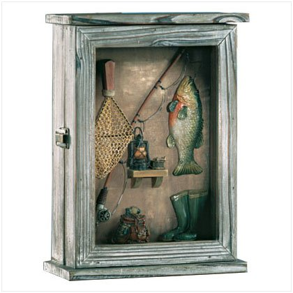 33175 Wood Fishing Shadowbox Keyholder