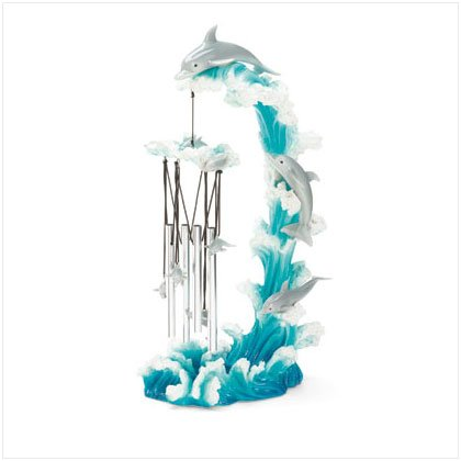 37077 Dolphin on Wave Wind Chime