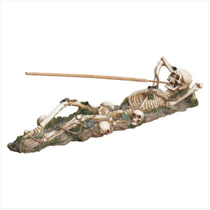 37078 Skeleton Incense Burner Holder