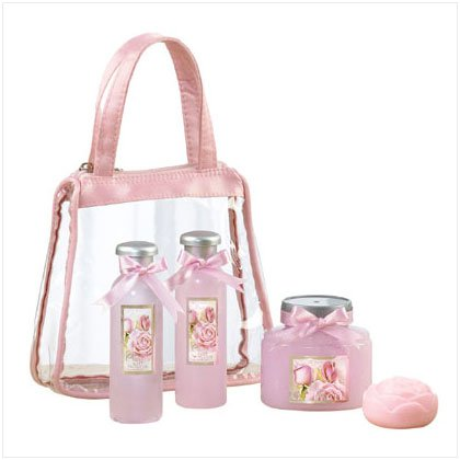 36384 Rose Bath Set In Pink Bag