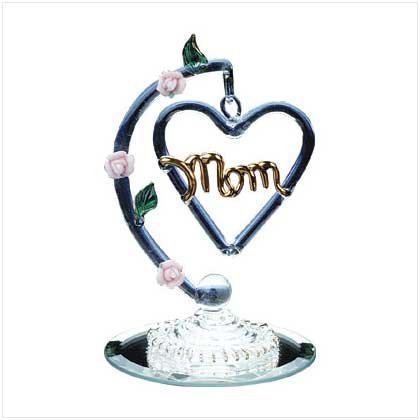 30017 Spun Glass Heart-Shaped Mom