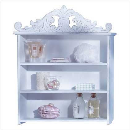 33663 Distressed White Wood Shelf