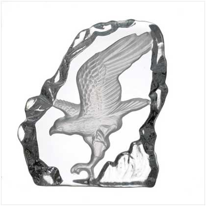 28313 Clear Glass Carved Eagle