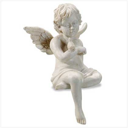 30114 Alabastrite Sitting Cherub With Bird