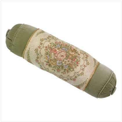 35510 Green Floral Bolster
