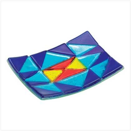 38341 Blue Patchwork Art Glass Plate