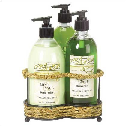 38059 Mint and Sage Bath Set