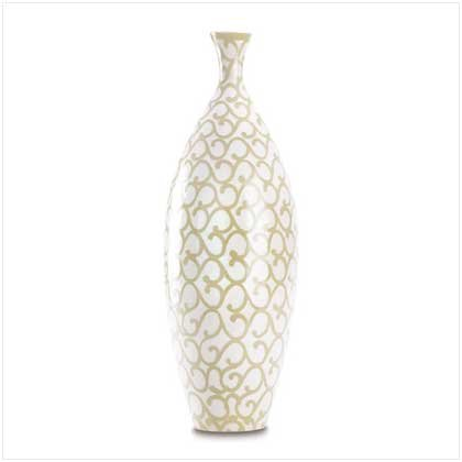 38390 Tall Ivory Scrollwork Vase