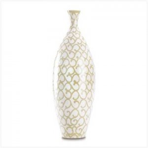 38390 Tall Ivory Scrollwork Vase