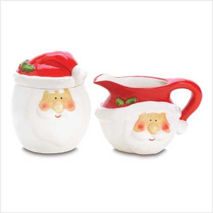 38604 Smiling Santa Sugar and Creamer