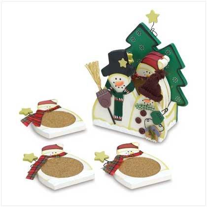 38871 Wood Snowman Coasters - 6 pc
