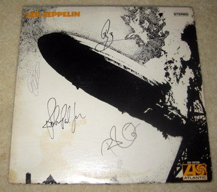 "LED ZEPPELIN   signed  AUTOGRAPHED  "" Zepp 1 ""   RECORD        *proof"