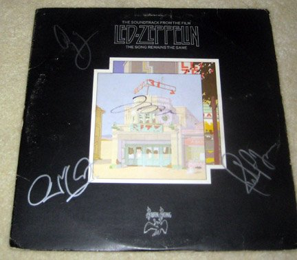 "LED ZEPPELIN   autographed   SIGNED     "" songs remains ""    RECORD       *proof"