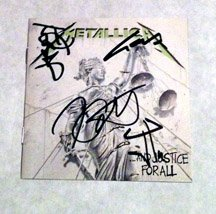 "METALLICA  signed AUTOGRAPHED "" JUSTICE "" Cd COVER"