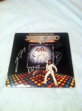 BEE GEES  w/ travolta    Autographed   SIGNED  #1   RECORD     album     * Proof