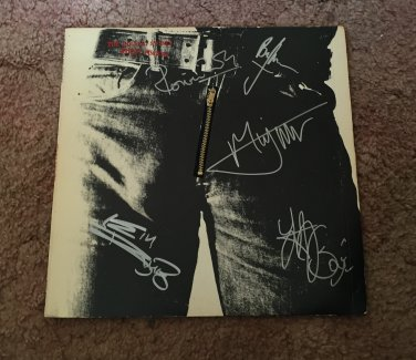 THE ROLLING STONES w/bill wyman AUTOGRAPHED signed STICKEY FINGERS record VINYL